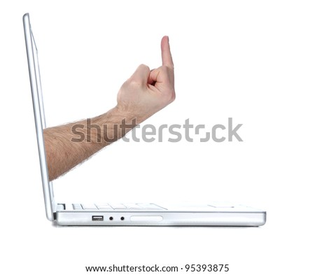 Laptop computer flipping a user the bird - stock photo