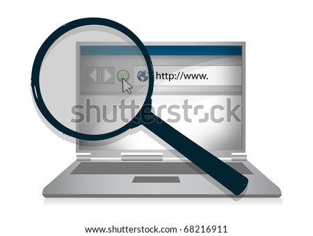 Laptop computer illustration and a magnifying glass in front of it to represent internet research.