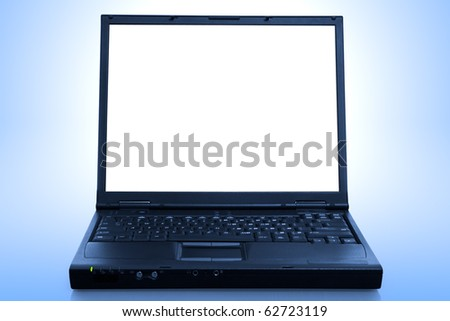 laptop computer isolated  - blue toned