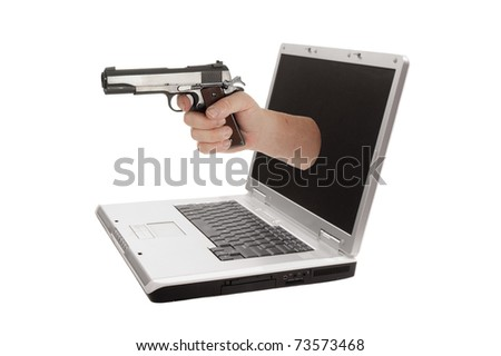 Laptop computer isolated on a white background, representing how the user is held to ransom by the software manufacturers