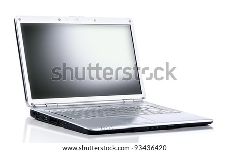 laptop computer isolated on white with clipping path - stock photo