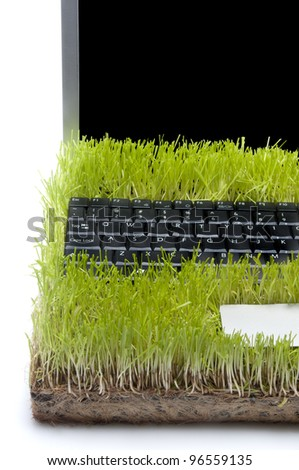 Laptop Computer Made Out Of Grass, white background