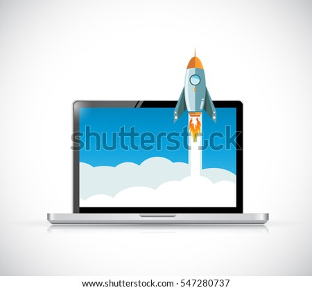 laptop computer screen and rocket illustration design over a white background