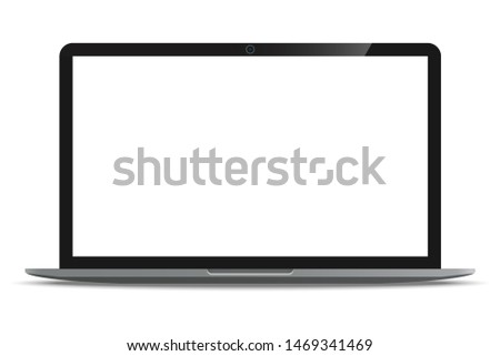 Laptop computer ultrabook with blank white screen realistic icon for mockup user interface design isolated on white background. illustration