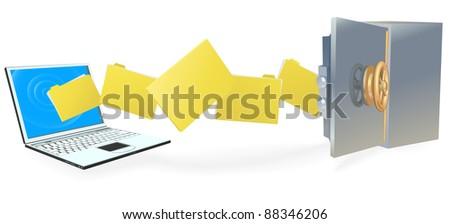 Laptop computer uploading or downloading files to secure internet server or backing up securely.