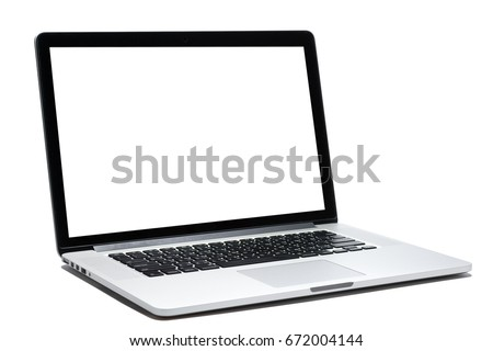 Laptop computer white screen and white background isolated #672004144