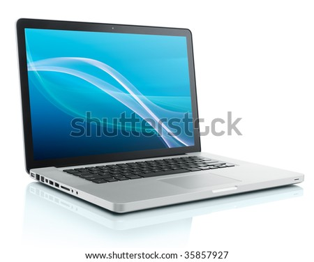 laptop computer with abstract background on monitor #35857927