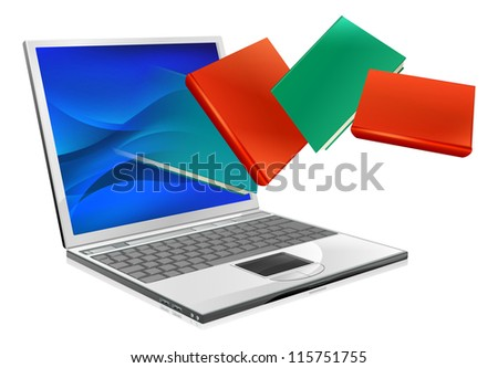 Laptop computer with books flying out of screen. Online education or ebook concept