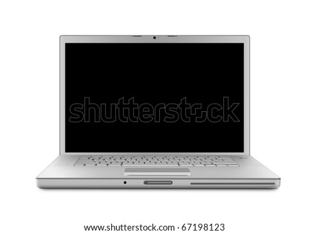 Laptop computer with clipping path. Isolated with a black screen on white background.