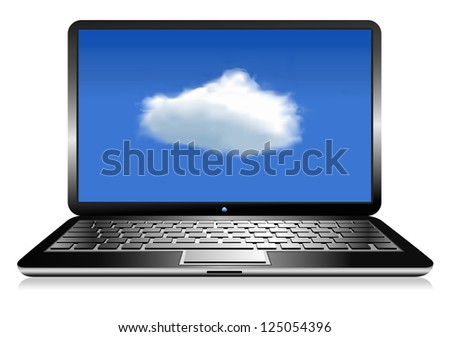 Laptop Computer with cloud - Raster Version