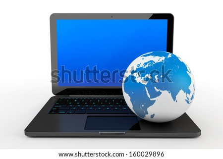 Laptop computer with Earth Globe on a white background
