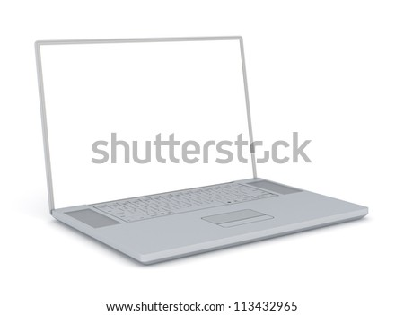 Laptop Computer with Empty Monitor - Isolated on White Background