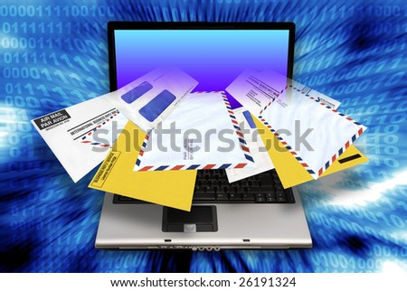 laptop computer with envelopes coming out of the screen as concept for email spam