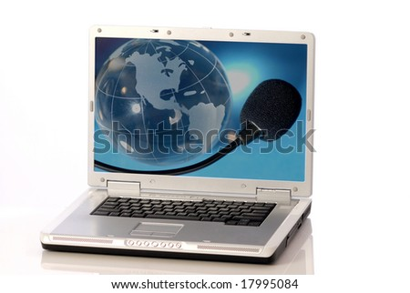 laptop computer with globe and microphone