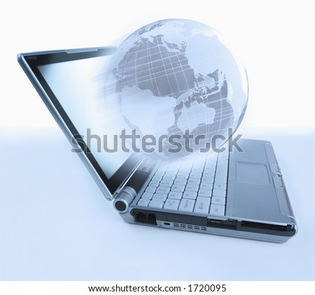 Laptop computer with globe emerging from the screen
