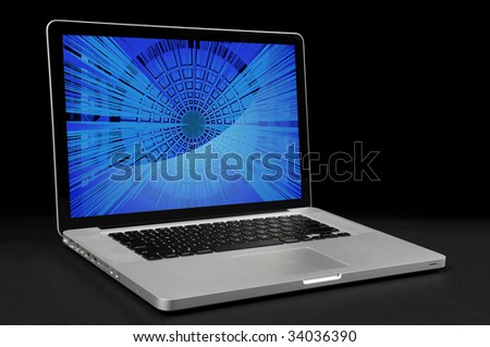 Laptop computer with over dark background