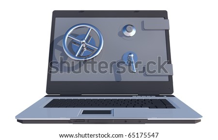 laptop computer with vault on screen