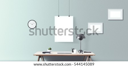 Laptop display and office tools on desk. Laptop screen isolated. Modern creative workspace background. Front view