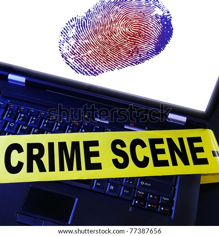 laptop fingerprint with yellow crime scene tape across it