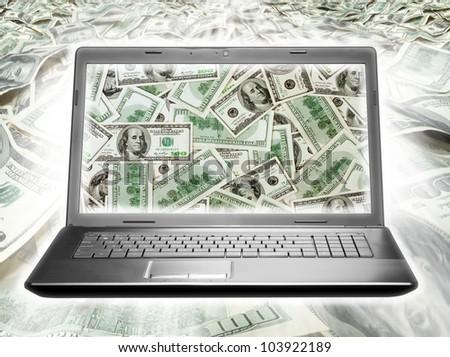 Laptop full of dollars on money background