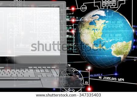 laptop,globe planet,industrial engineering scheme on black background.Engineering industrial electrical technology
