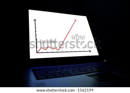 Laptop-graph isolated on black