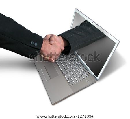 Laptop handdruk - stock photo