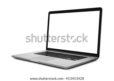 Laptop in angled position with blank screen isolated on white background - mockup template #413453428