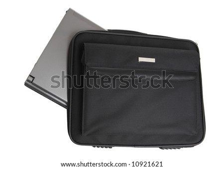 Laptop in bag isolated on white
