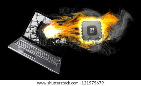 Laptop in Fire. Burning Processor. 3d Illustration isolated on black background. high resolution