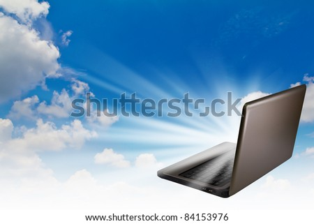 laptop in sky with light out