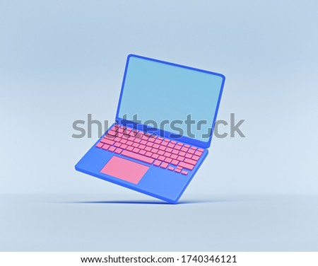laptop isolated. minimal icon, symbol. technology concept. 3d rendering