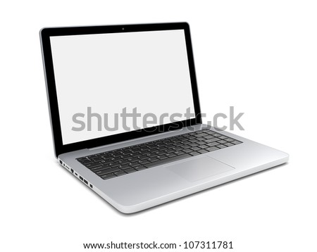 Laptop isolated on a white with blank screen. 3d image