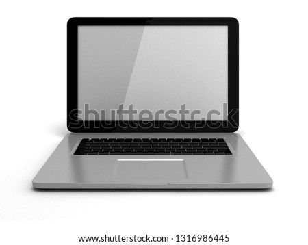 Laptop isolated on white background. 3D rendering illustration