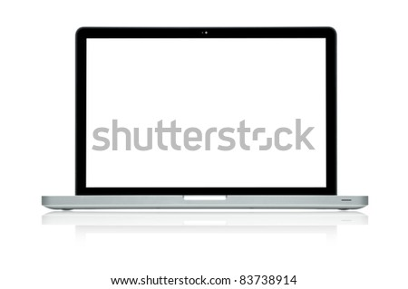 Laptop isolated on white (Clipping path is included) - stock photo