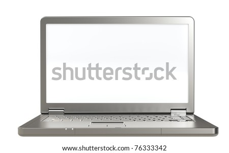 stock photo : Laptop isolated on white. Isolated white screen. Front view.