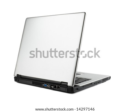 laptop isolated over white background - stock photo