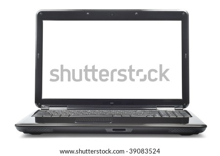 Laptop isolated with clipping path over white background. Front view.