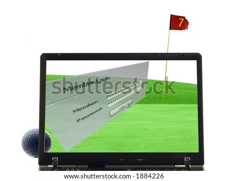 laptop isolated with putting green, golfball and flag in background, Member login window in front