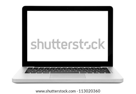 Laptop isolation photo with empty white display. - stock photo