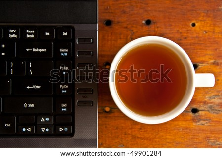 Laptop keyboard and tea cup