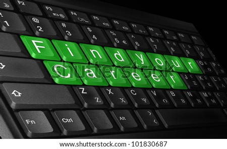laptop  keyboard and text ''find your career'' colored   green.