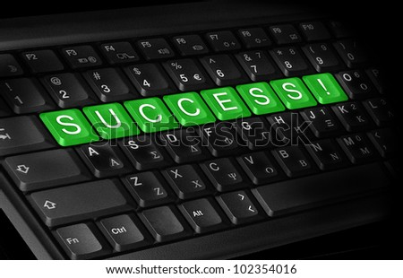 laptop keyboard and text ''Success'' colored green.