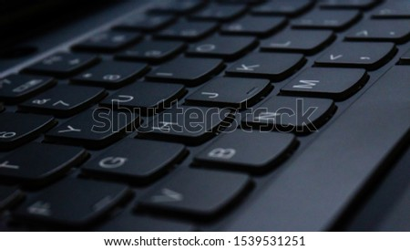 Laptop Keyboard. Close up on the keys. Buttons. #1539531251