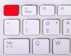 Laptop keyboard - red key Esc.