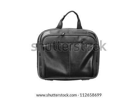 Laptop leather bag isolate on white background