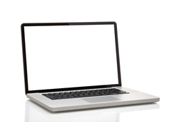 laptop, like macbook with blank screen. Isolated on white background.