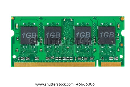 Laptop memory module (SO-DIMM) isolated on the white background