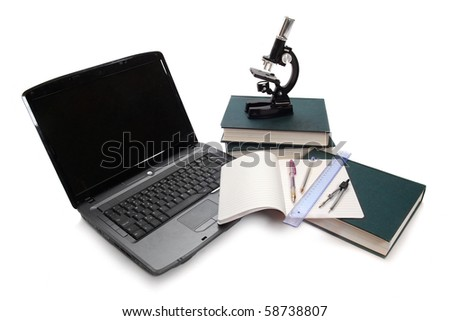 Laptop, microscope, books and others tools for university education.