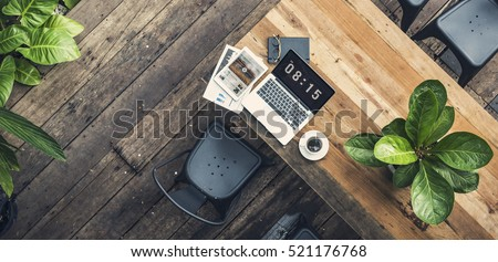Laptop Office Wooden Table Workplace Technology Concept